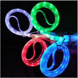 Wholesale Galaxy S3 Led - LED Luminous Flat Micro USB Cable For Samsung HTC Sony LG Galaxy S4 S3 3ft Smart Phone Charging Charger Line Free DHL Shipping
