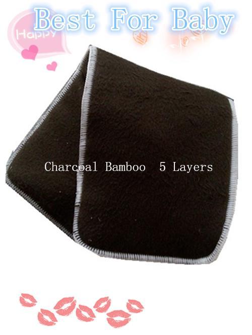 Charcoal Bamboo 5 lager 3 + 2 Återanvändbar Baby Cloth Diaper Pads Nappy Insert Hot Sales