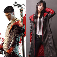 Wholesale Spandex Devil Costume - Devil May Cry 5 Five DMC High quality leather Coat Jacket Dante Game Costume Cosplay (XS-3XL) Any size custom made