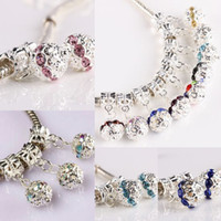 Wholesale Dangling Crystal Bracelet Charms - 100PCS LOT Silver Plated Mixed Color Crystal Rhinestone European Big Hole Dangle Charm Beads Fit EP Bracelet Jewelry
