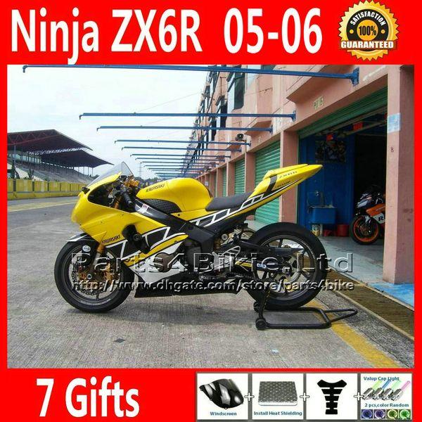7 Regalos gratis yellow negro kit de carenado de la motocicleta para Ninja 2005 2006 ZX6R Kawasaki 636 ZX 6R carenado kits de cuerpo ZX-6R ZX636 05 06 VR47