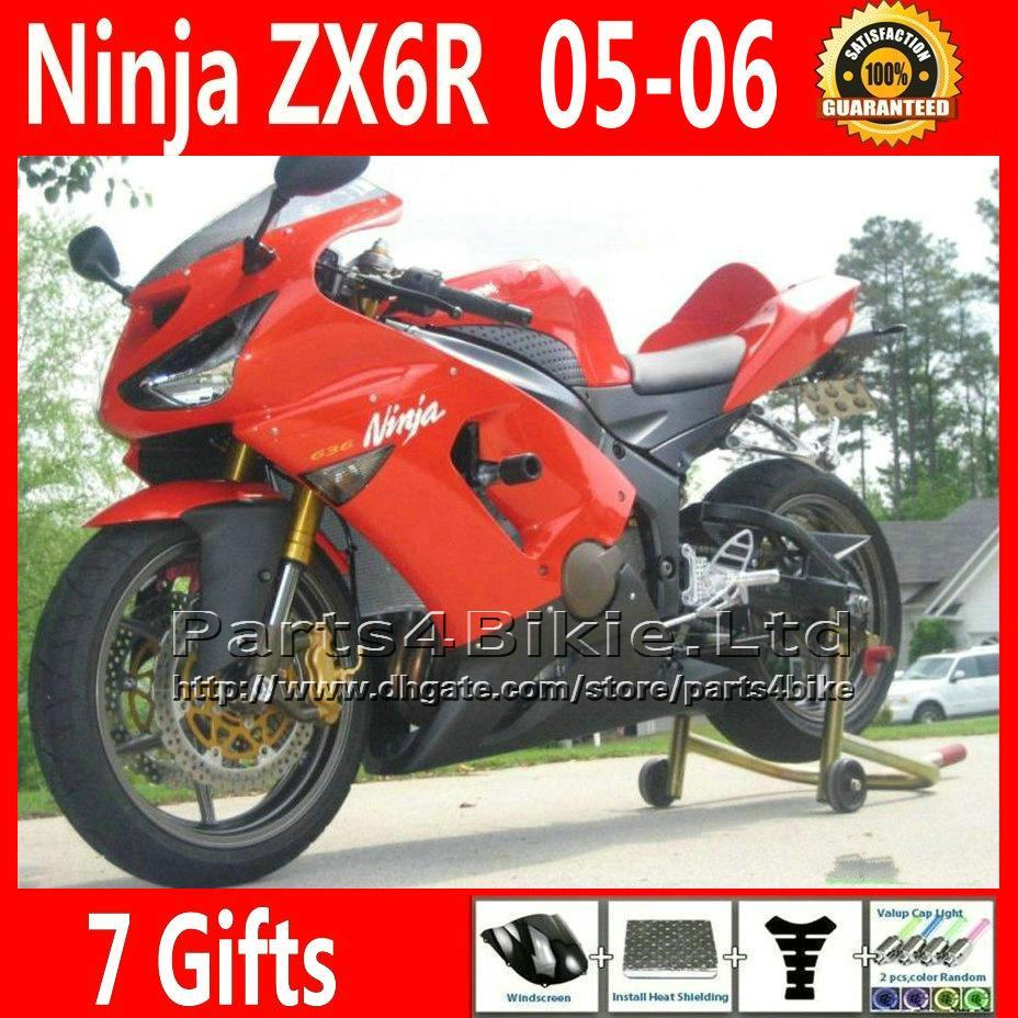 7 Free Gifts black red motorcycle fairing kit for Ninja 2005 2006 ZX6R Kawasaki 636 ZX 6R fairings body kits ZX-6R ZX636 05 06 VR49