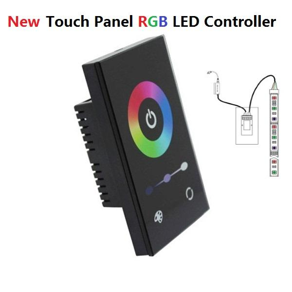 US Standard Black White Glass In-Wall LED RGB Touch Controller 12-24V DC 12A White and Black