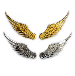 Wholesale Metal Decorative Cars - Angel Wings Metal Design Auto Emblem 3D Car Decorative Alloy Badge Label Stickers Brand New Free Shipping Gold Silver