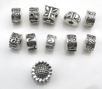 Wholesale European Bracelet Mixed Stoppers - Free shipping 55pcs lot antique silver plated copper stopper beads mix styles fit European DIY bracelet jewelry
