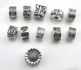 Wholesale Metal Stopper Beads - Free shipping 55pcs lot antique silver plated copper stopper beads mix styles fit European DIY bracelet jewelry