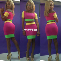 Wholesale Neon Bandage Dresses - Free shipping Novelty Dress For 2014 Colorful Bodycon Dress Women Sexy Evening dress Bandage Outfit neon 5603