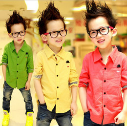 Wholesale Shirts New Style For Boys - Boys T Shirt Brand New 100% Cotton Yellow red green long-sleeve Children's T-shirts for boys Fashion Clothes Free shipping