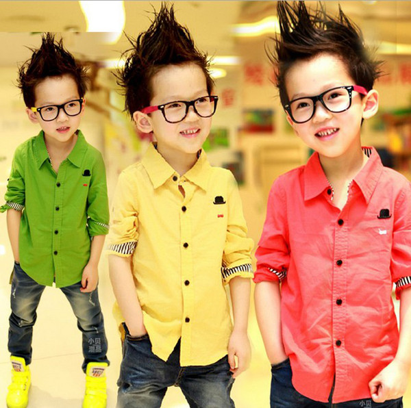 top popular Boys T Shirt Brand New 100% Cotton Yellow red green long-sleeve Children's T-shirts for boys Fashion Clothes Free shipping 2021