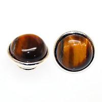 ingrosso anello tigre occhio piatto-Tiger Eye Jewelpop Adatto a braccialetto Kameleon, collana, anello, placcatura in argento 925 per kameleon jewelpops IJP260