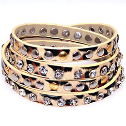 Wholesale Leopard Print Gift Wrap - New Fashion Studded Crystal Metal Rivet Leopard Printed PU Leather Multiple Wrap Bracelets