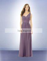 Wholesale Bill Levkoff Bridesmaid - Victorian Lilac Chiffon Cheap Bridesmaid Dresses Bill Levkoff One-Shoulder Little Pleated Cummerbund Floor-Length Backless Custom Made