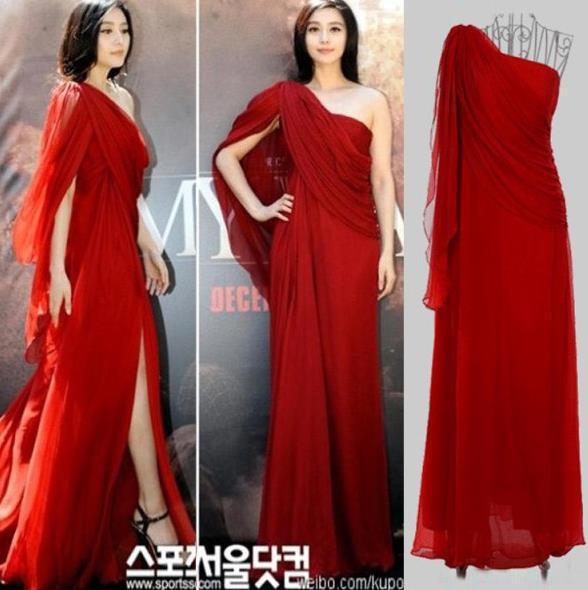 Vestidos Da Moda Vestidos De Celebridades Grande Estrela Da Deusa Grega Fanbingbing Chiffon Vestido De Noite Vermelho Transparente Vestido De Noiva