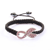 Wholesale Breast Cancer Rhinestone Connectors - 30PCS Silver Tone Pink Pave Crystal Rhinestone Ribbon Knitted Adjust Black Cord Bracelet Breast Cancer Awareness Connector Macrame Bracelets