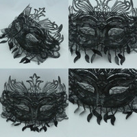 Wholesale Cheap Black Masquerade Masks - 2016 Free Shipping Masquerade Masks Party Black Full Mask Princess For Women YV-29 New Arrival Cheap
