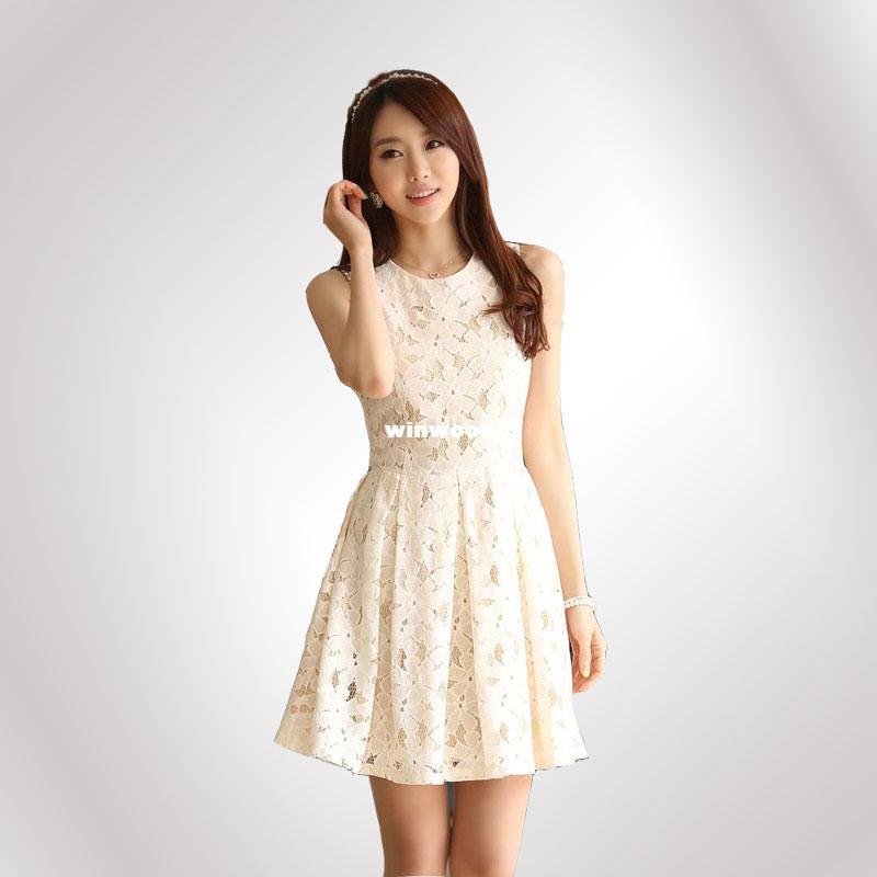 Women Dress 2014 Elegant Spring And Summer Lace Chiffon