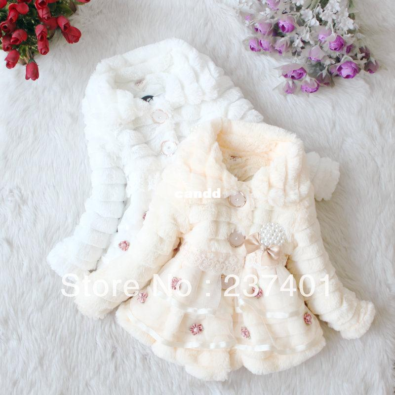 Retail Baby Girl faux fur coat Sweet flowers overcoat Kids lace jackets Autumn Winter outerwear children's Warm clothing