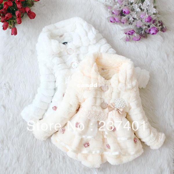 Cappotto in finta pelliccia per bambina Cappotto per fiori dolce Cappotto in pizzo per bambini Capispalla autunno inverno Capispalla per bambini