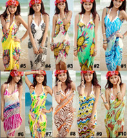 Wholesale Swimwear Bikinis Skirts - Sexy Women's Wrap Beach Dresses Chiffon Bikini Cover Up Wrap Braces Skirt Slip Dress Floral Bohemian Swimwear Beachwear Mix Colors 800