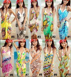 Wholesale Dress Chiffon Colors - Sexy Women's Wrap Beach Dresses Chiffon Bikini Cover Up Wrap Braces Skirt Slip Dress Floral Bohemian Swimwear Beachwear Mix Colors 800