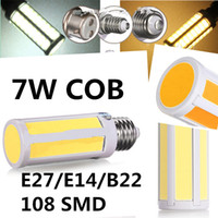 Wholesale Cob Led E27 Pure White - New Arrival COB Bulb E27 E14 B22 7W LED COB Corn Light Lamp 108 SMD Warm Pure Cold White Light Bulb Lamp 110V-240V LED Bulb Light 10pcs