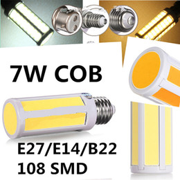 Wholesale E14 Led Cob Corn Bulb - New Arrival COB Bulb E27 E14 B22 7W LED COB Corn Light Lamp 108 SMD Warm Pure Cold White Light Bulb Lamp 110V-240V LED Bulb Light 10pcs