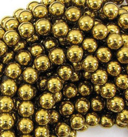 Wholesale Gold Beads For Shamballa - New 10mm Good Gold Hematite Loose ball Beads Shamballa Findings Fit DIY Bracelet Bead for bracelet hotsale DIY Findings Jewelry