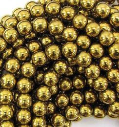 Wholesale Animal Fasion - 10mm Fasion Gold Hematite Loose ball Beads Shamballa Findings Fit DIY Bracelet Bead for bracelet hotsale DIY Findings Jewelry