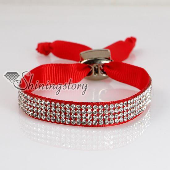crystal rhinestone ribbon bracelets slake bracelets adjustable wristbands personalized leather bracelets fashion leather bracelet jewelry