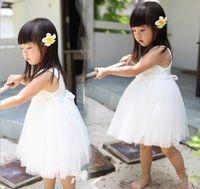 Wholesale Korean Girl Dress Fashion - Girls Clothes Summer Fashion Korean A line Flower Princess Chiffon Dresses Children's Clothing 3t to 7t Girl Tutu Dresses MXZA