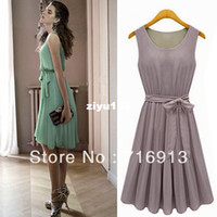 Wholesale Working Dress Fashion Korea - 2014 New Fashion Korea Women's Elegance Bow Pleated Vest Chiffon Dress Round Collar Sleeveless Dress Free Shipping 1