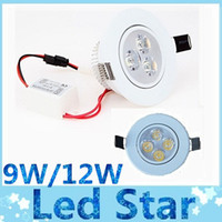 Wholesale Dimmable 4x3w - Dimmable 12W 4X3W led downlights 60 angle 9W 3X3W high power led recessed down lights warm cool white 110-240V New white shell
