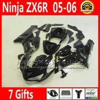 carenagem inferior para kawasaki ninja venda por atacado-Conjunto de carenagens de baixo preço para ZX 6R 05 06 Kawasaki Ninja ZX6R 2005 2006 ZX-6R 636 ZX636 carenagem kit bodywork todos preto brilhante VR59 +7 presentes