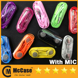 Wholesale Iphone4s Headphones - Earphone for Iphone 4 4s 3.5mm Headphone with MIC Colorful Headset Earbuds For iphone4s 3GS Iphone 5 Ipod Itouch MP3
