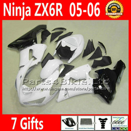 Wholesale Kawasaki 636 Plastics - Low price plastic fairings set for ZX 6R 05 06 Kawasaki Ninja ZX6R 2005 2006 ZX-6R 636 ZX636 fairing kit bodywork white black VR65 +7 Gifts