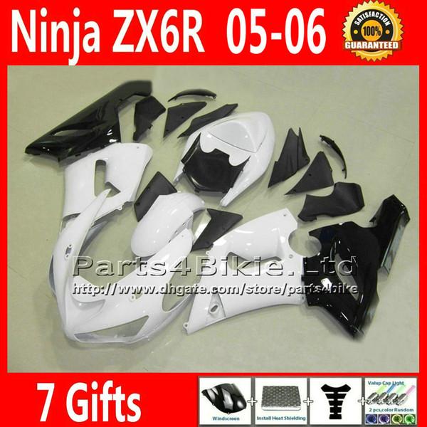 Carenados de plástico de bajo precio establecidos para ZX 6R 05 06 Kawasaki Ninja ZX6R 2005 2006 ZX-6R 636 ZX636 carenado kit carrocería blanca negro VR65 +7 Regalos