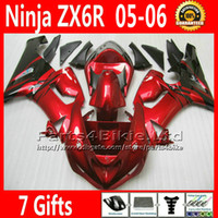 Wholesale kawasaki zx6r racing fairings - 7 Free Gifts popular red black fairing body kits for 05 06 ZX6R Kawasaki Ninja 636 ZX 6R racing fairings sets ZX-6R ZX636 2005 2006 VR80