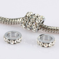 Wholesale Large Clear Beads - 100PCS Large Hole 5mm Clear Crystal Rhinestone Wheel Beads Charms For European Bracelet