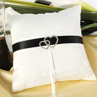 Ring Pillow black and white ring pillow - Brand new double central drill white and black satin ring pillow Wedding gift ring pillow Wedding Favors huihui2014