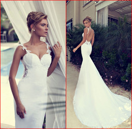 Barato Trajes Brancos Sem Camisinha-New Arrival 2017 Wedding Dresses White Spaghetti Lace Appliques Sexy Backless Mermaid Dress Tribunal Trem Lindos vestidos de noiva Nurit Hen W365