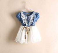 Wholesale denim yarn - 2014 Summer Kids Baby Girls Dresses Short Sleeve Denim Floral Waistband Lace Gauze Yarn Bow Kid Girl's Dress Children's Clothing C1148