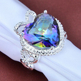 Wholesale Heart Shaped Ring Rhinestone Crystal - New Carving Heart Shape Natural Mystic Topaz Silver Rings Father's Day Gifts CR0176