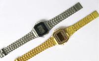 vintages saatler toptan satış-Yeni A159W A159 A159W Mens Klasik Paslanmaz Çelik Dijital Retro İzle Vintage Altın ve Gümüş Dijital Alarm A159W Spor Saatler saatler