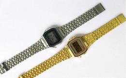 $enCountryForm.capitalKeyWord Canada - New A159W watches Mens Classic Stainless Steel Digital Retro Watch Vintage Gold and Silver Digital Alarm A159W Sports Watches A159 A159W