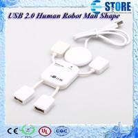 Wholesale Cute Extension - Portable Cute USB 2.0 Human Robot Man Shape 4 Port High-speed Mini Hub Split Extension Expansion Cable for PC Laptop wu