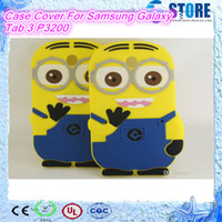 Wholesale Despicable Minion Inches - Despicable Me Minion 3d cartoon silicon Case Cover For Samsung Galaxy Tab 3 P3200 7 inch blue color two eyes wu