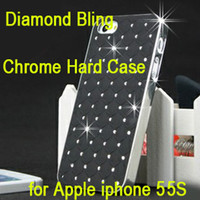 Diamante Bling Chrome Hard Case Capa da pele para o iPhone 5 5G 5S Luxo Shell Cases