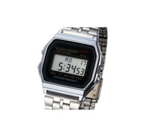 Wholesale Thin Band Digital Watch - Gold Retro Vintage Stainless Steel Strap Style Ultra-thin LED Metal Band Digital A-159W Watch Digital Alarm Watch A159 A159W A159WGEA-5