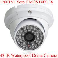 Wholesale Cctv Camera Leads - HD CCTV 1200TVL Sony CMOS IMX138 Sensor 48 IR Outdoor Security Dome Camera With IR-Cut OSD Control
