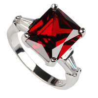 Wholesale First Engagement - Classic Red fashion Silver Plated Cubic Zirconia ring R130 sz# 6 7 8 First class products Recommend Promotion Favourite Engagement Wedding